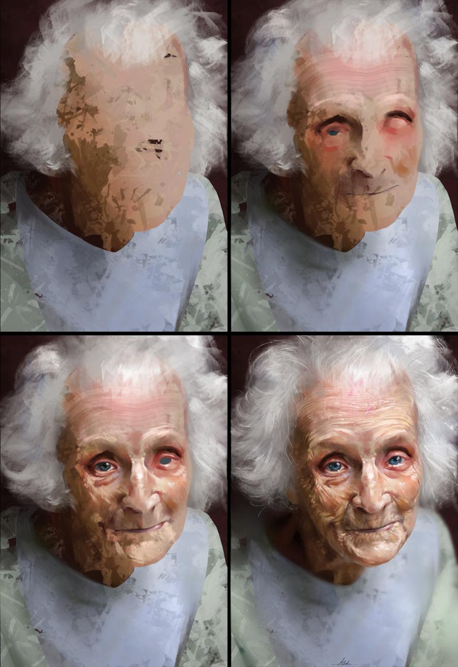 Study of an Elderly Woman Process by AaronGriffinArt.deviantart.com on @DeviantArt