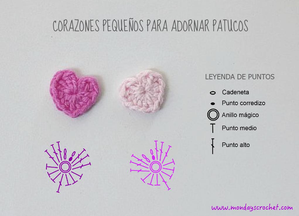 Dorable Patrón De Crochet Pequeño Corazón Embellecimiento - Manta de ...