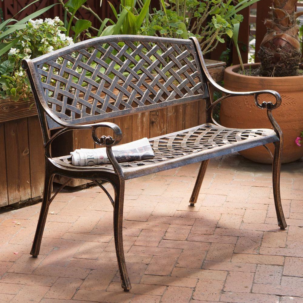 Outdoor Patio Garden Bench Copper Cast Aluminum Rust Proof Deck Furniture  Chair