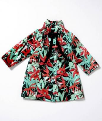 AMAZING jungle raincoat with grosgrain tie, Lanvin Petite.