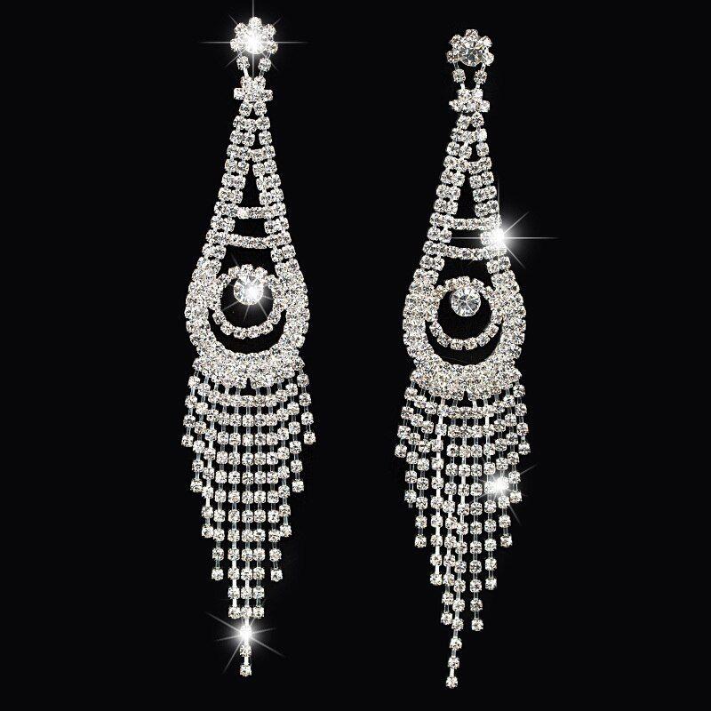 Dangle Clip on Earrings no Pierced Tiered Round Chandelier Drop Gold tone Tassel Girl Bridal Prom