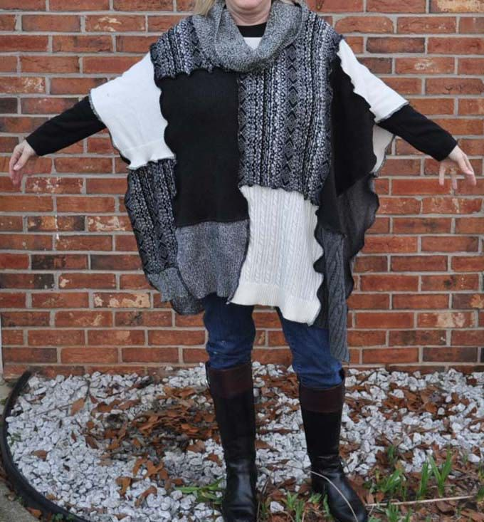 OS Upcycled Sweater Poncho