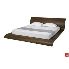 Walnut Finish Waverly Curved Platform Bed California King Size
