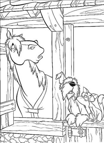 Colonel dog, Sergeant Tibbs cat and a horse Coloring page | 101 ...