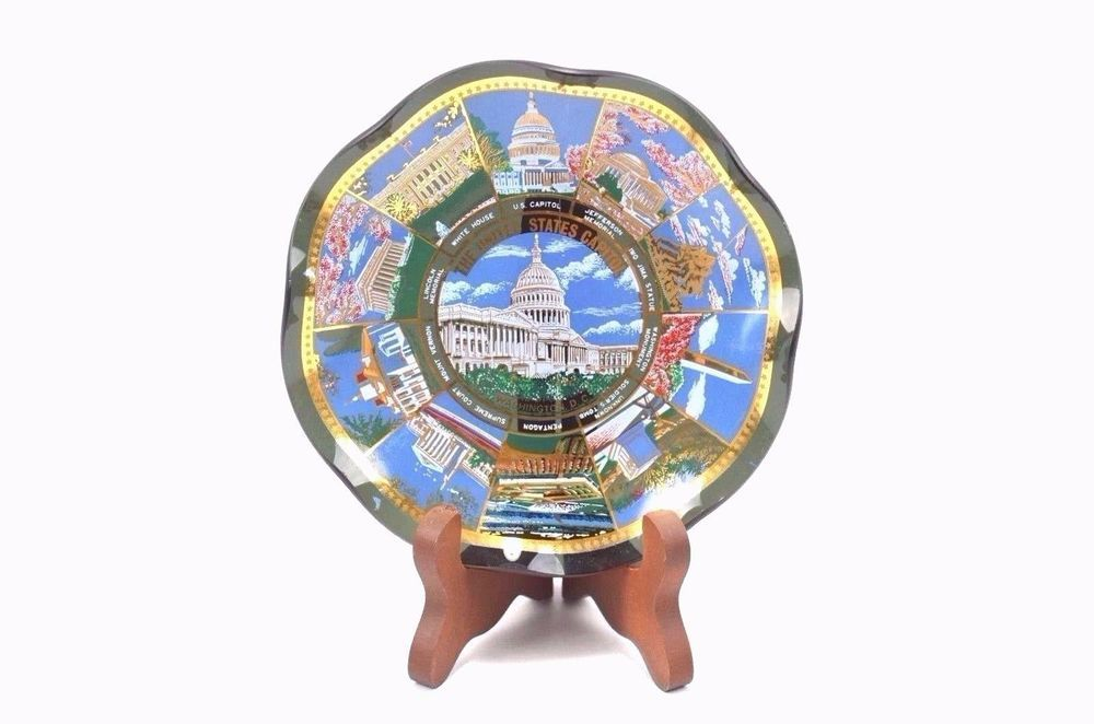 Washington Dc Map Of Us%0A Vintage Souvenir Glass Plate   The United States Capitol Washington DC