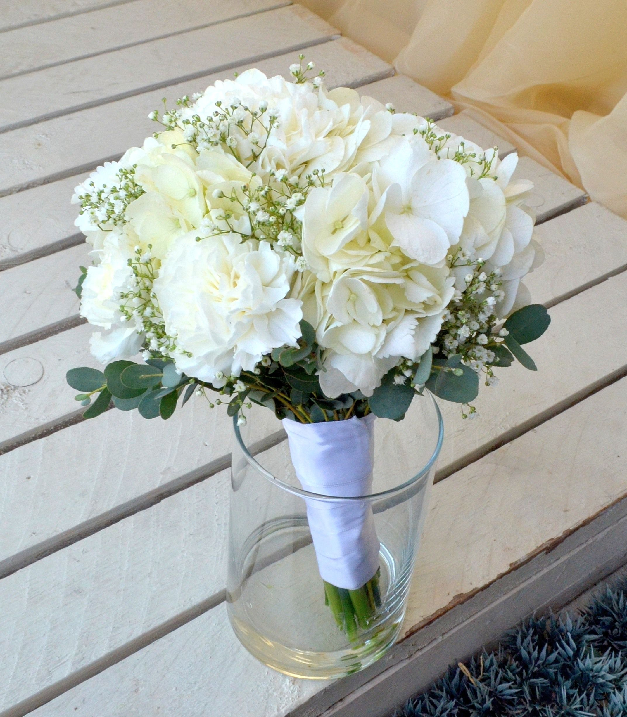 Carnation Hydrangea And Babies Breath Bouquet Carnation