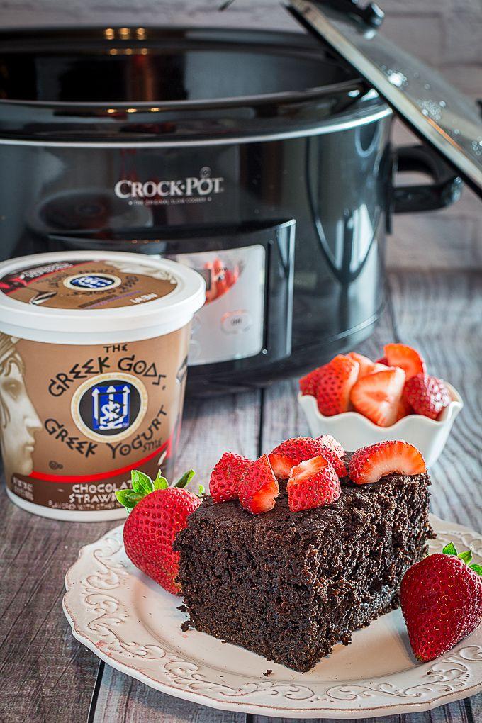 Slow Cooker Chocolate Strawberry Cake and Yogurt Glaze ...