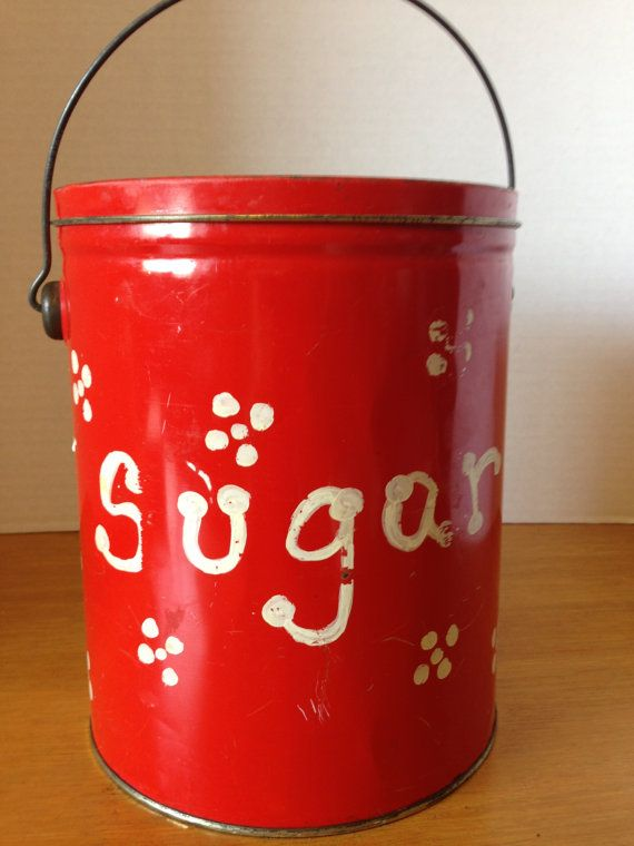 Primitive Hand Painted Sugar Tin