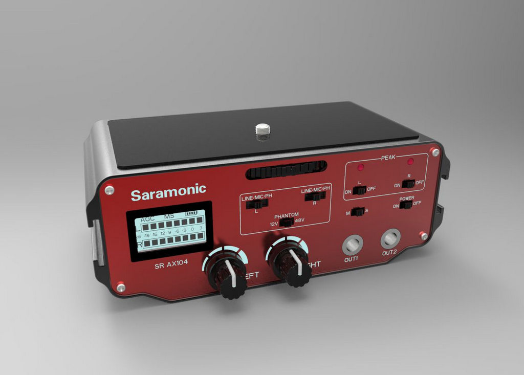 Saramonic is an camera audio adapter and equipment solution company from China. They have the SR-AX104 audio adapter plus six other similar adapters, as well as the SR-AX100 and SR-AX101 two channe...