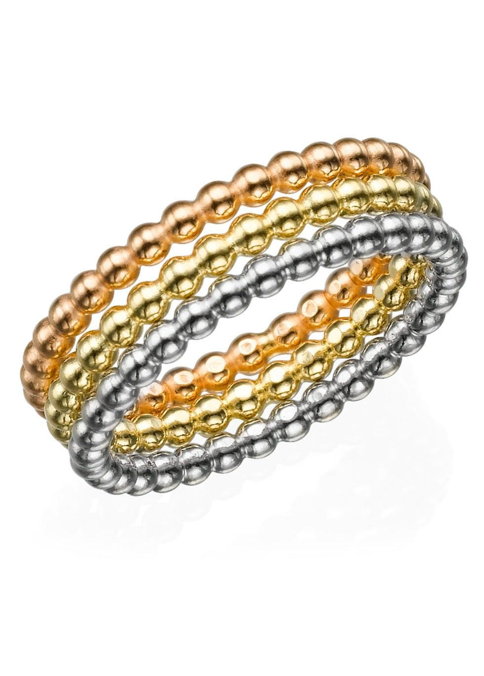 My Only One - Dotted Eternity Rings Set Silver & Gold Filled - 3 Bands - Size M My Only One ID: 202-02-121-02 Thickness: 2 mm - 0.08  Material: Sterling Silver, Gold-Plated & Rose Gold  #rosegold #gold #silver #elegant #modli #modlifashion #modest #gift #trendy