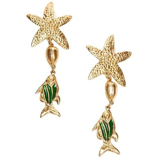 375c85a37fd Preowned Yves Saint Laurent Starfish And Fish Pendant Clip-on Earrings...  (9.561.520 VND) ❤ liked on Polyvore featuring jewelry, earrings, beige, ...