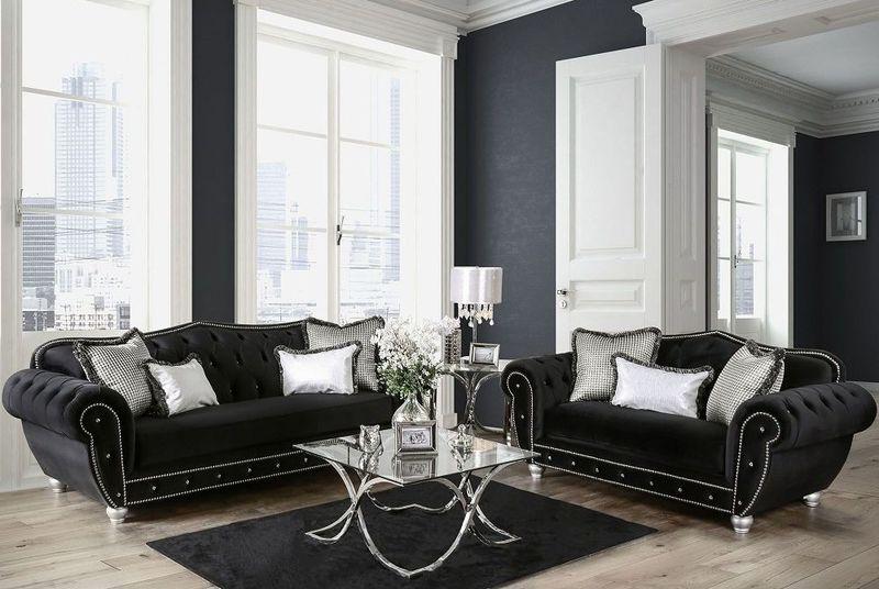 Negrini Elegant Modern Black Velvet Living Room Set With Crystal