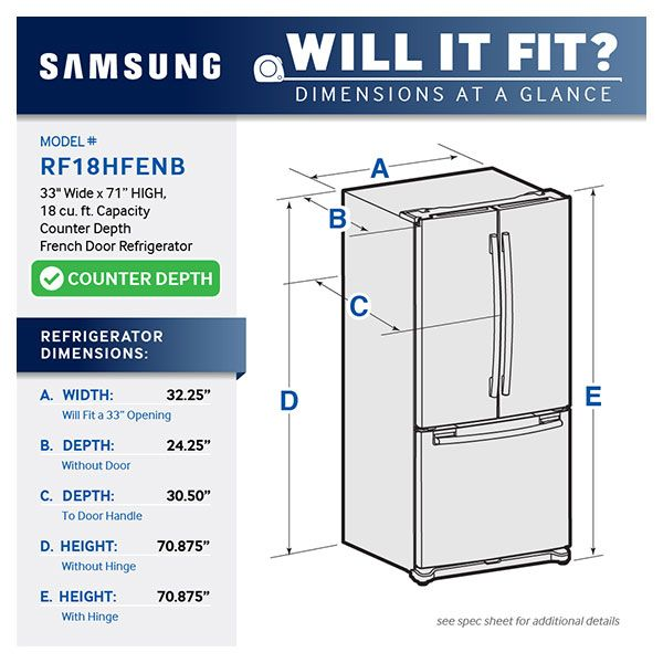 Counter Depth French Door Refrigerator Refrigerators   RF18HFENBSR/AA    Samsung US
