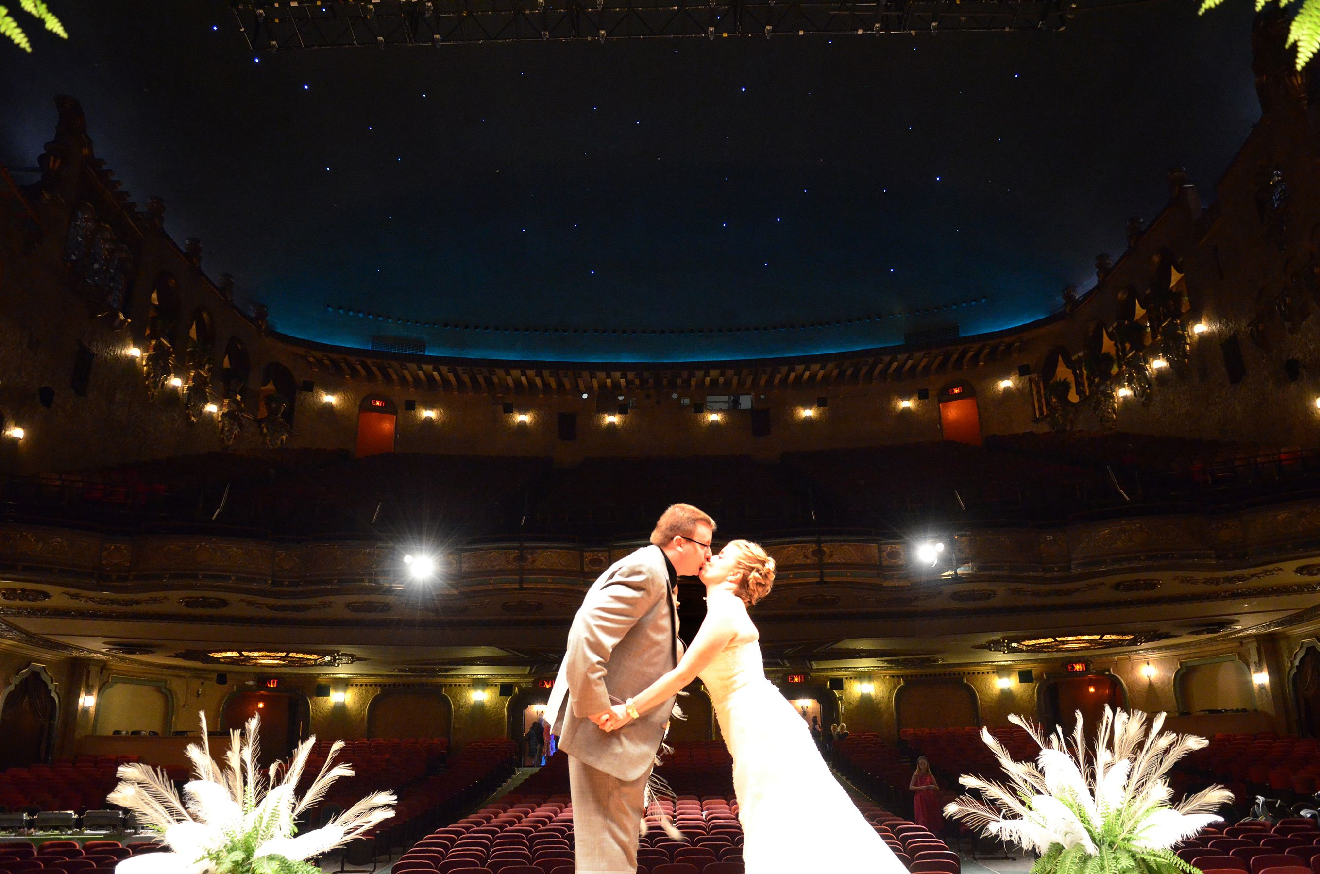 Wedding On Stage At The Keith Albee Theater In Huntington West Virginia Woodstock Wedding Peacock Wedding Wedding