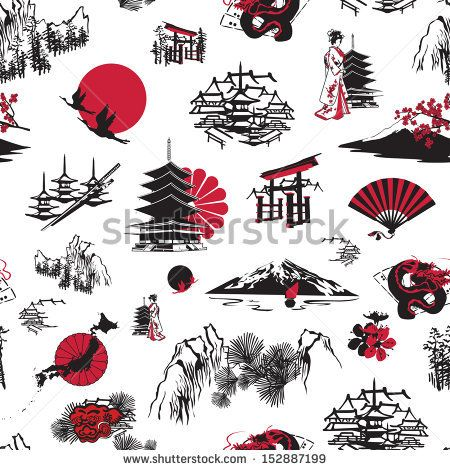 seamless background with Japanese miniatures on a white ...