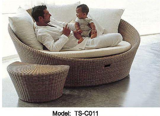 Patio en osier lit de repos en plein air ensemble de meubles de ...