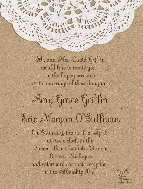 Wedding Invitations Craft Paper And Doily By Yourpicturefixer 1 50