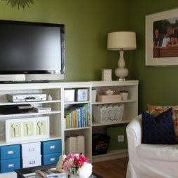 Half Wall Built In Look Living Room Ins Shallow Bookshelf Tv White Design