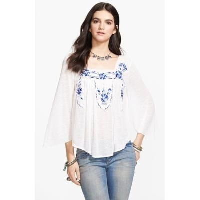 $39, White and Blue Embroidered Peasant Blouse: Free People Bed Of Roses  Embroidered Peasant