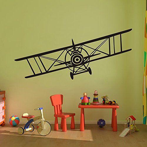 Vinyl airplane wall decal biplane sticker art decor nursery grahpic mural also jumbo jet aircraft rh pinterest