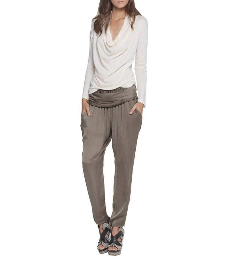 cowl neck top over loose pants