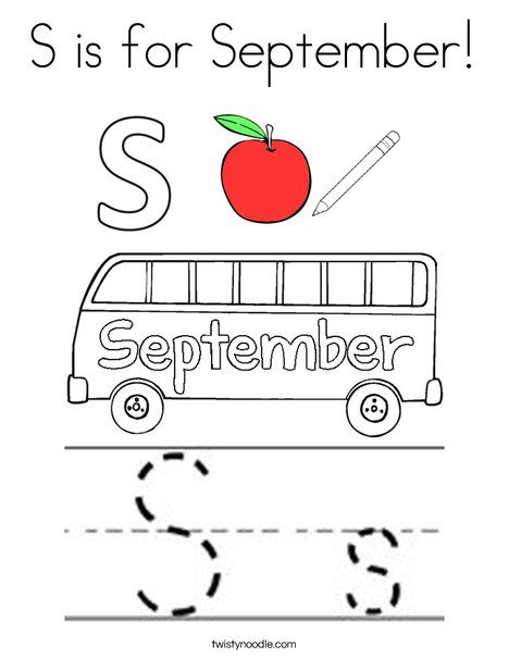 S is for September Coloring Page - Twisty Noodle | Months of the ...