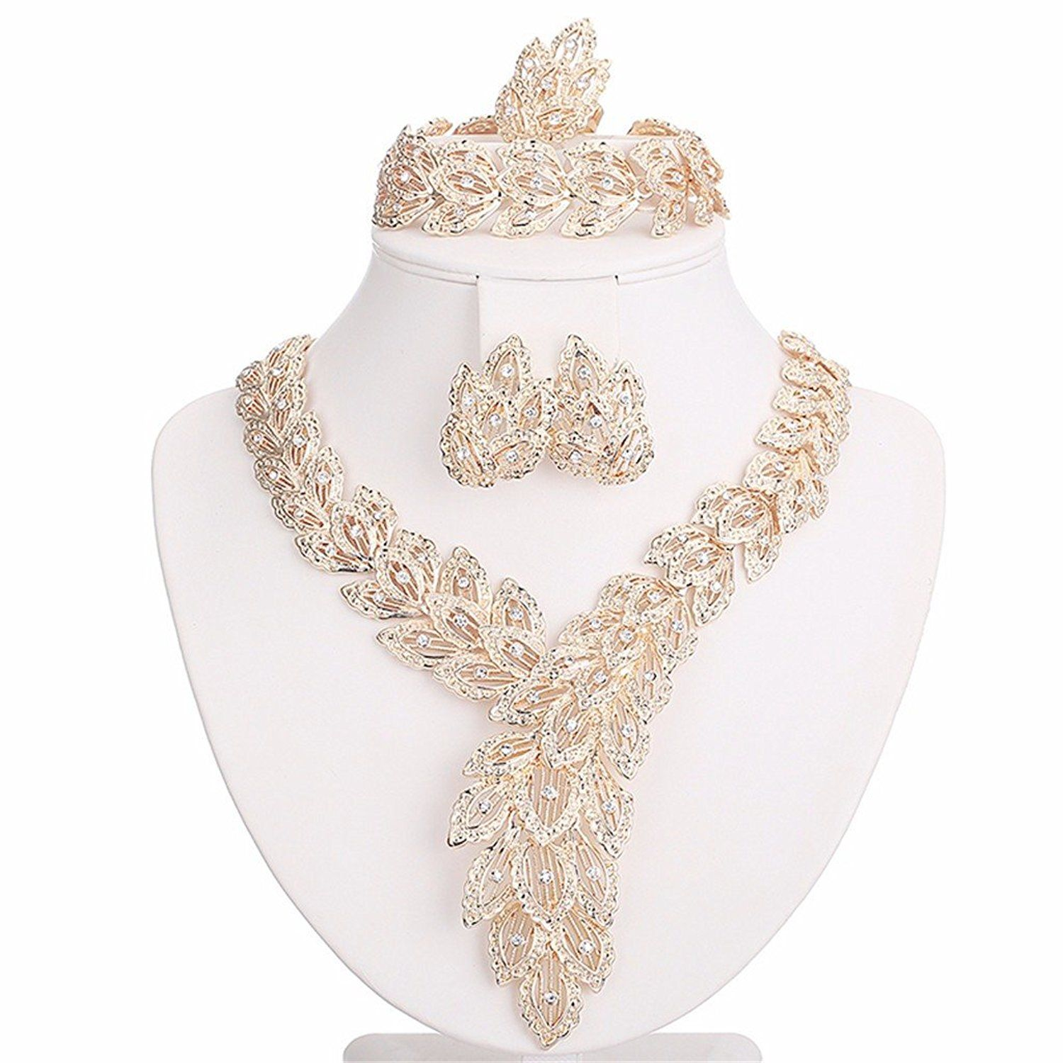 Moochi k gold plated big scarfshaped crystal chain jewelry set