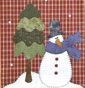 """Snowman and Tree Patternlet. The Wooden Bear """"Patternlets"""" are small, quick appliques to use on a variety of things.  This one is shown on a tea towel, but they would also be quite cute with many of them along the bottom of a sweatshirt, or even on a kraft paper gift bag! http://www.kayewood.com/Snowman-and-Tree-Patternlet-by-The-Wooden-Bear-WB-SNTR.htm $4.75"""