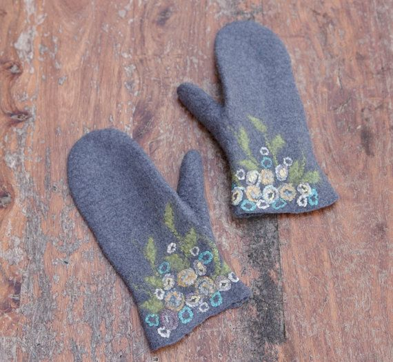 Felted Grey Wool Mittens With Flowers Women Merino Wool Gloves Flowered Cuff Aqua Mint Arm Warmers Floral Wrist Christmas Gift Wool Mittens Wool Gloves Mittens