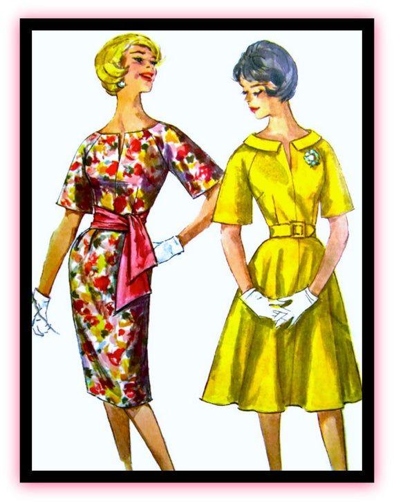 """Photo of IM VERKAUF: UNCUT Vintage Simplicity Schnittmuster 3791- """"Easy to Make"""" Partykleid mit Schärpe und zwei Röcken – Größe 12, Büste 32"""