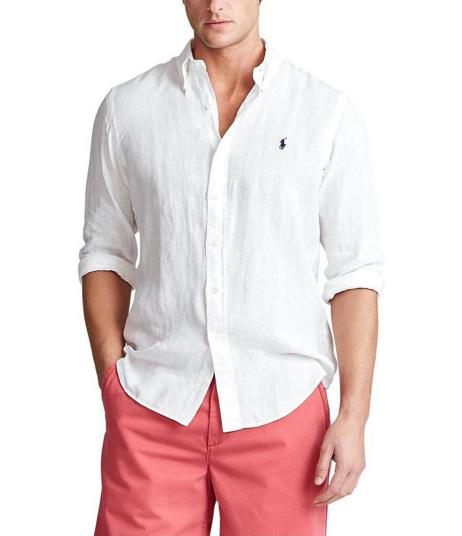 Polo Ralph Lauren Big /& Tall Men/'s White Linen Short Sleeve Button Front Shirt