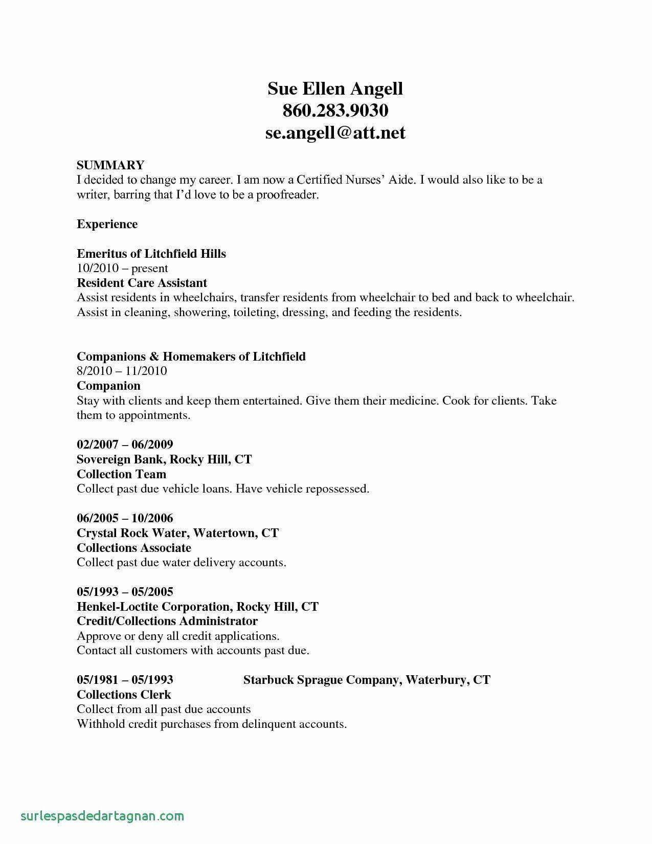 resume profile examples cna