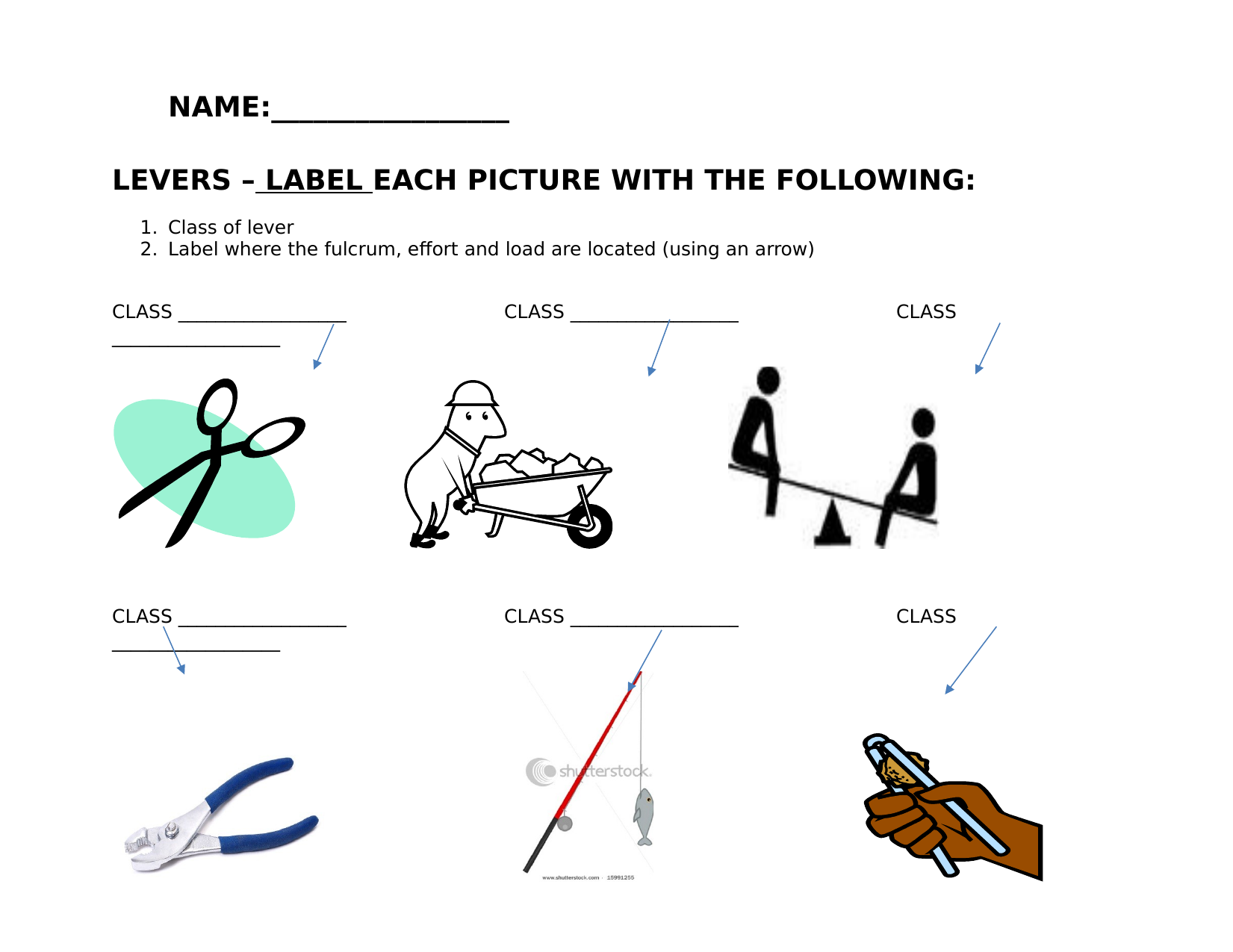 Printables Of Worksheet On Levers