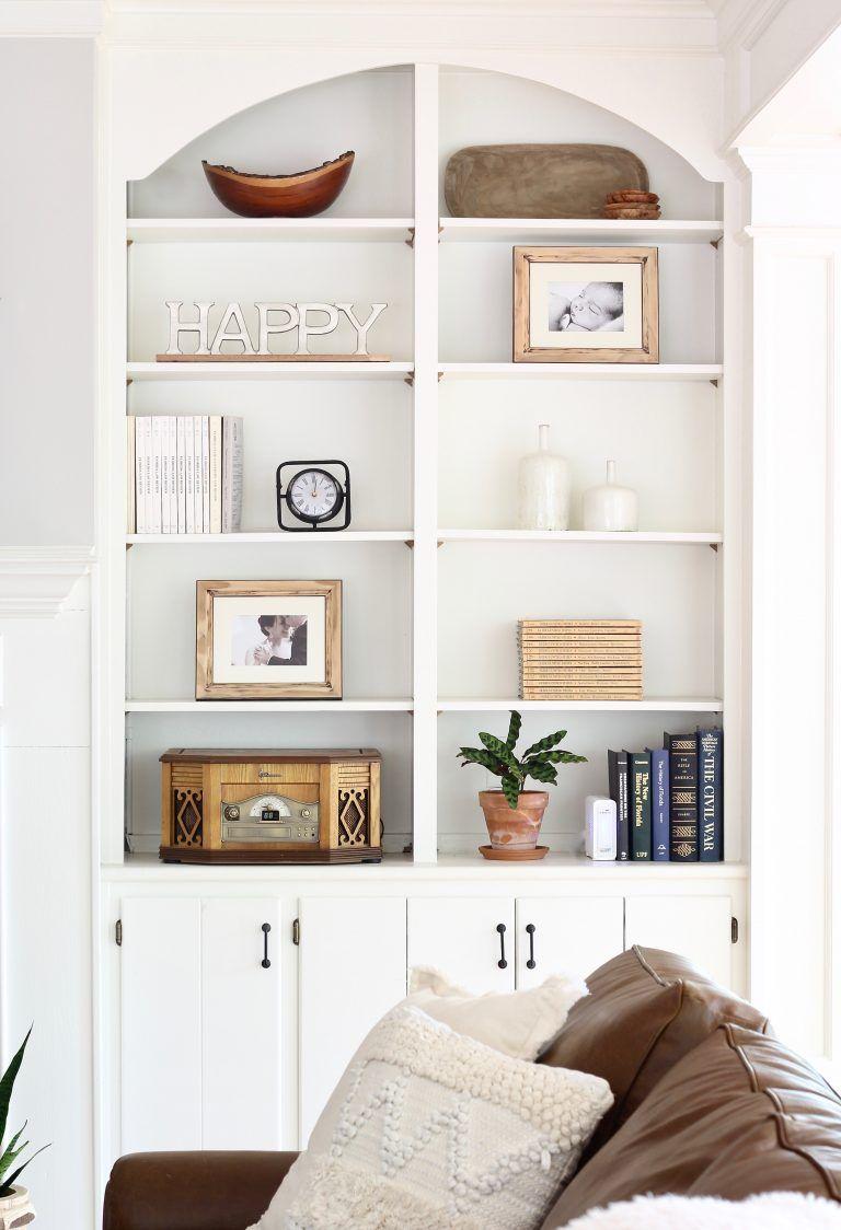 Four Easy Tips For Decorating Built In Shelves Our Hammock House Decorating Built In Shelves Living Room Built Ins Industrial Decor Living Room