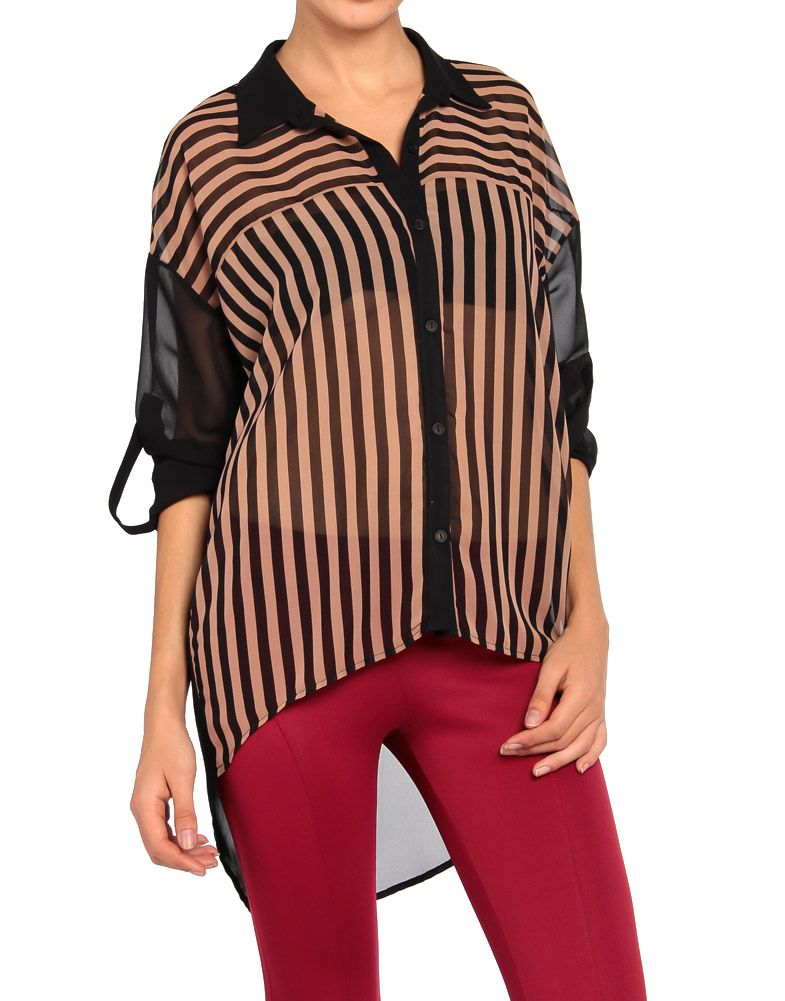 Oversized Striped Blouse - 2020AVE
