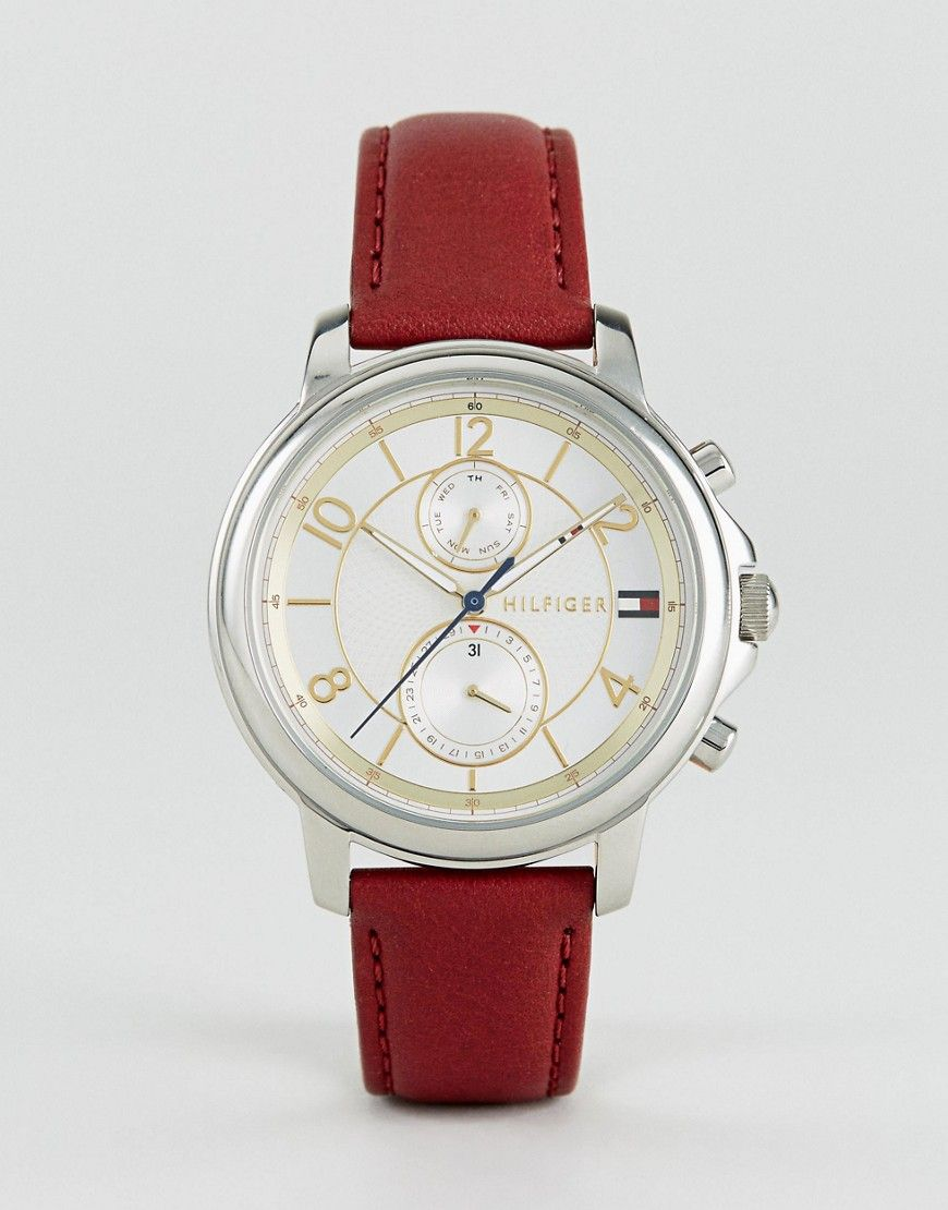 026e23efda8a Tommy Hilfiger 1781816 Claudia Chronograph Leather Watch In Red - Red