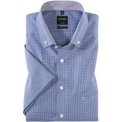 Photo of Olymp Luxor short-sleeved shirt, modern fit, button-down, Royal, 46 Olymp