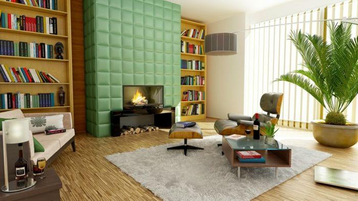 enorme Wohnzimmer Fernsehwand, in Grün gepostert, zwei Bücherregale - Wohnzimmer Design Grun