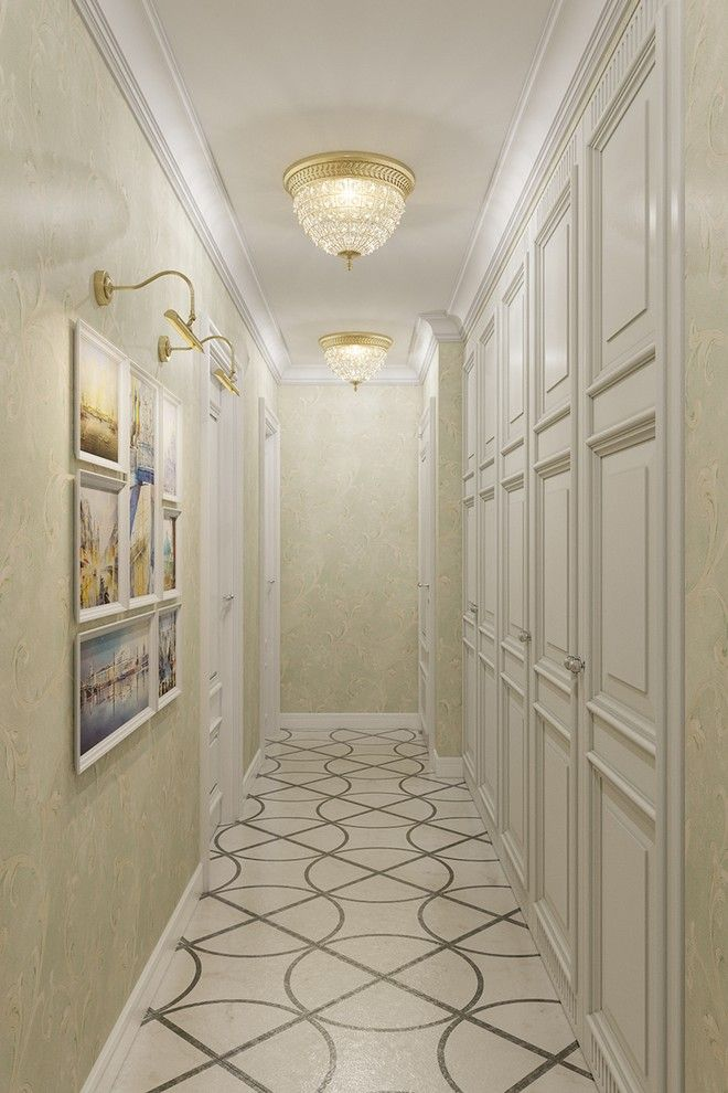 дизайн длинного коридора в классическом стиле фото работы выставочного