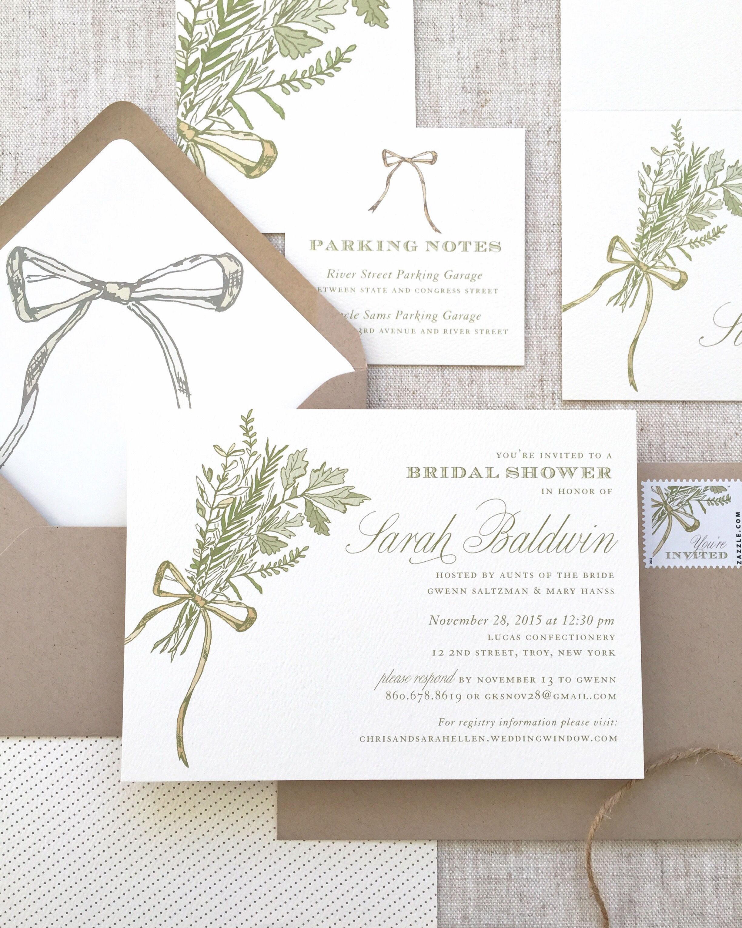 Herb Theme Invitation Herb Theme Bridal Shower Herb Illustration
