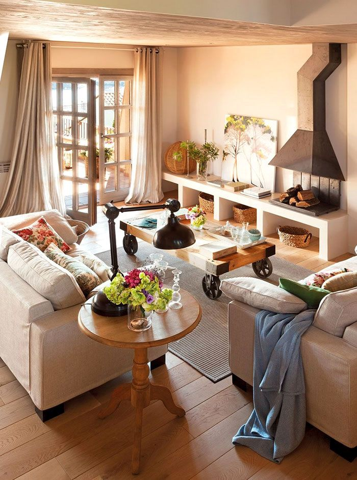 Warm And Cozy Spanish Interior With Beautiful Outside View 4betterhome Home Living Room House Interior Home #spanish #living #room #decor