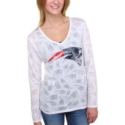 Women s New England Patriots White Sublime Burnout V-Neck Long Sleeve T- Shirt d43d73249