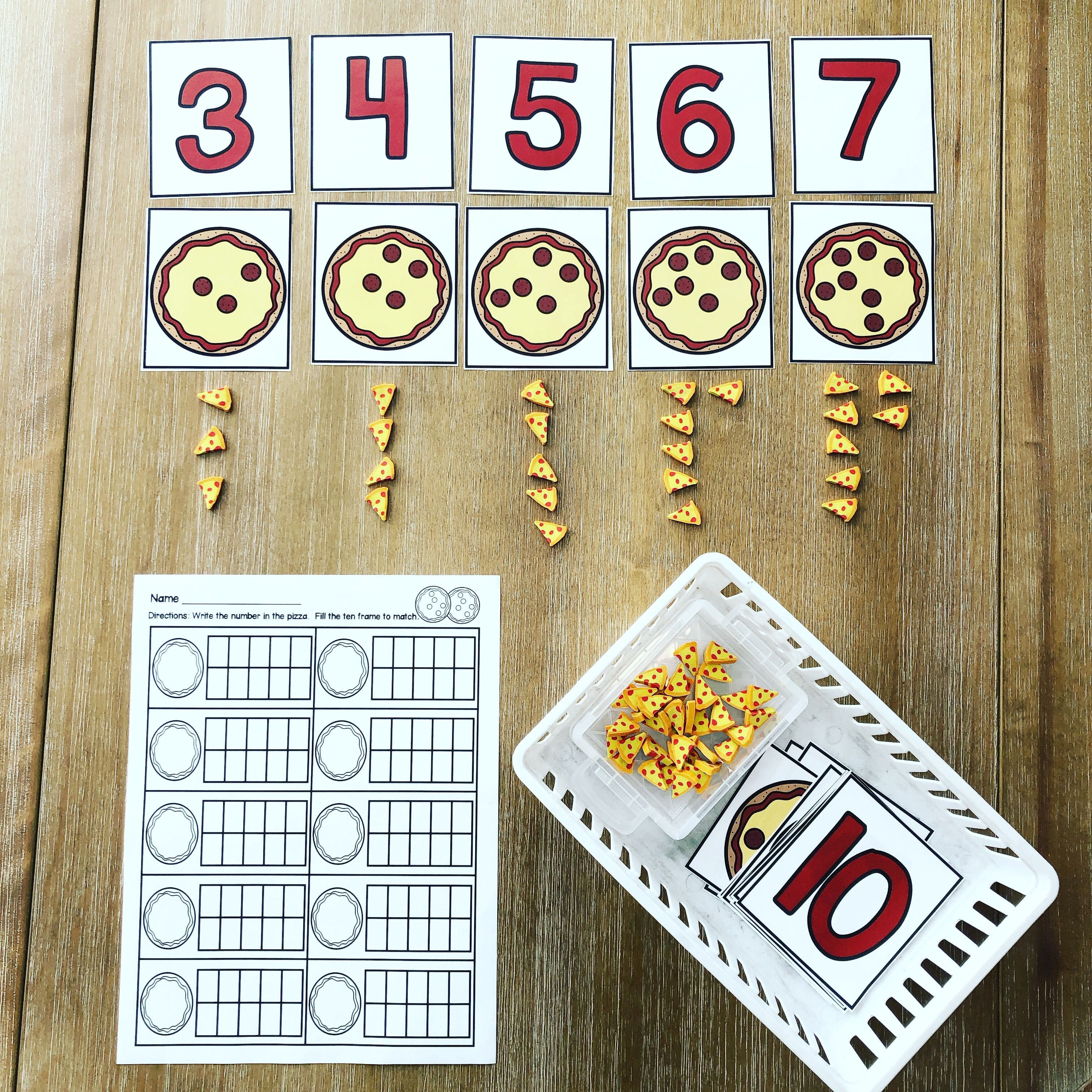 Matching Numbers And Sets 0 20 Pizza Theme