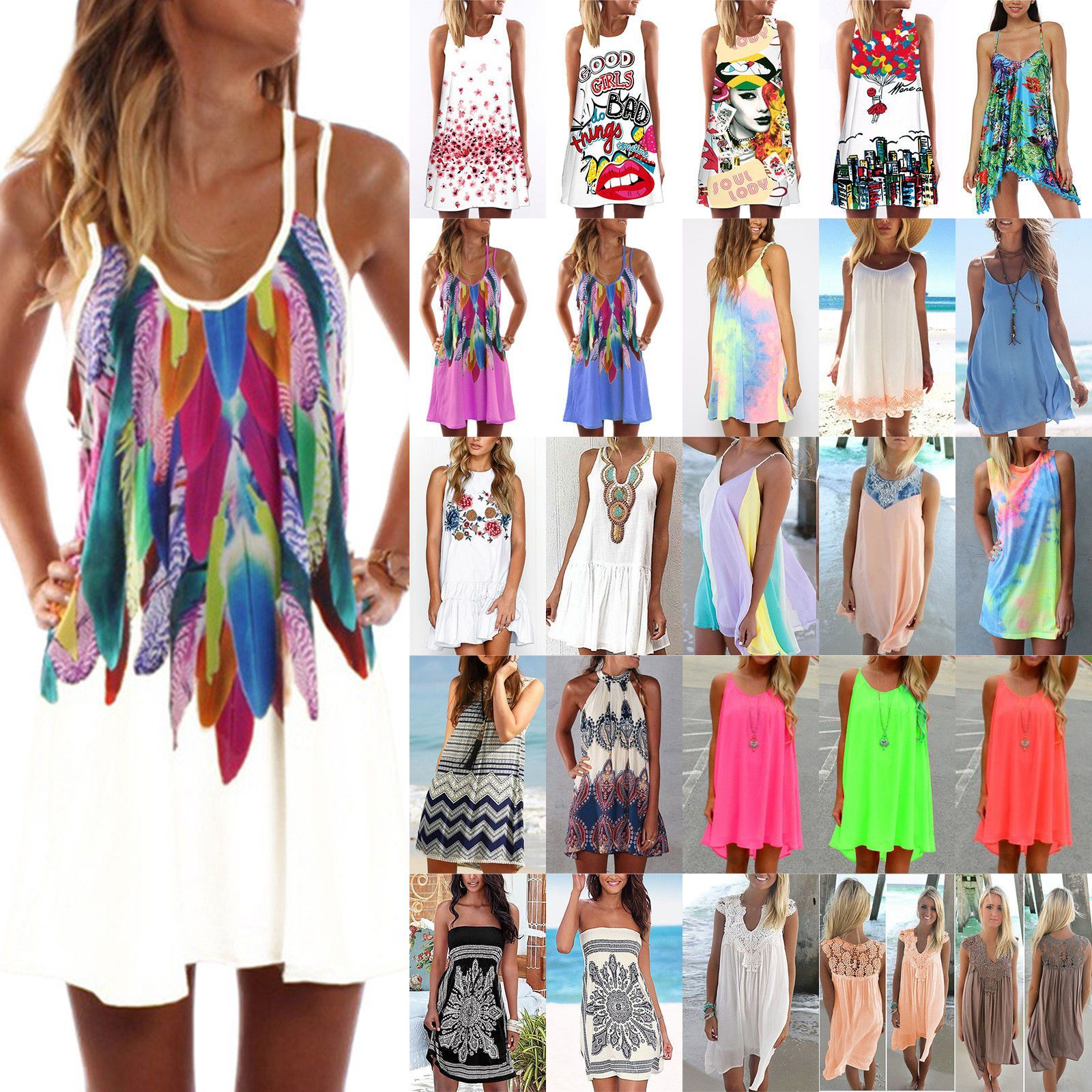 Damen Träger Tunika Kleid Boho Strandkleid Sommerkleid Minikleid Bikini Cover Up