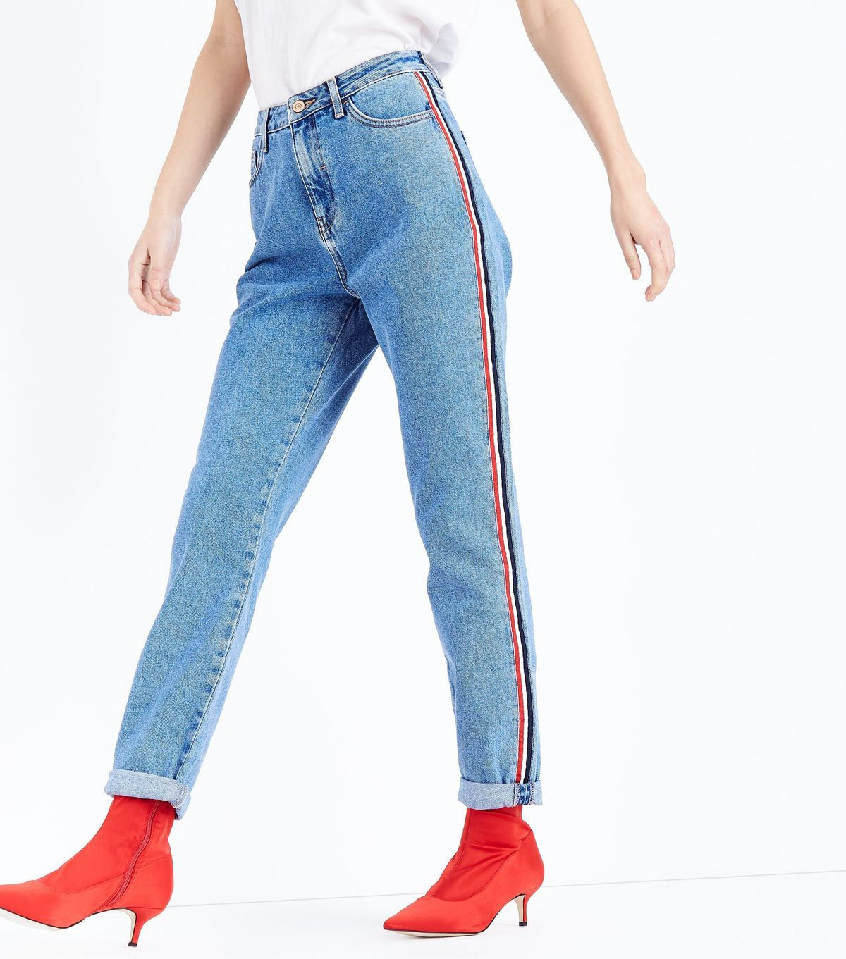 5caedf6bb17f6 Blue Side Stripe Tori Mom Jeans