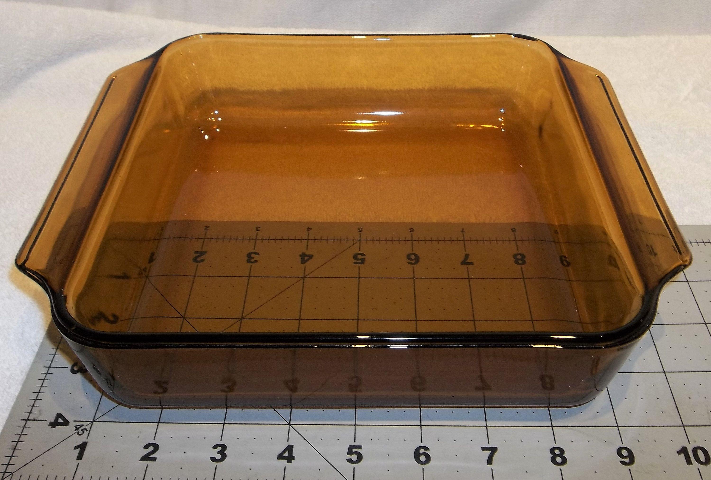Vintage Amber Glass Square Brownie Pan Casserole Baking Dish Usa