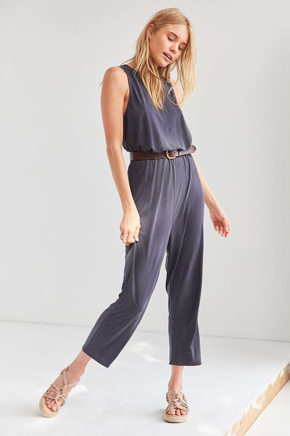 7d06521bc Silence + Noise Cupro Surplice-Back Jumpsuit - Urban Outfitters