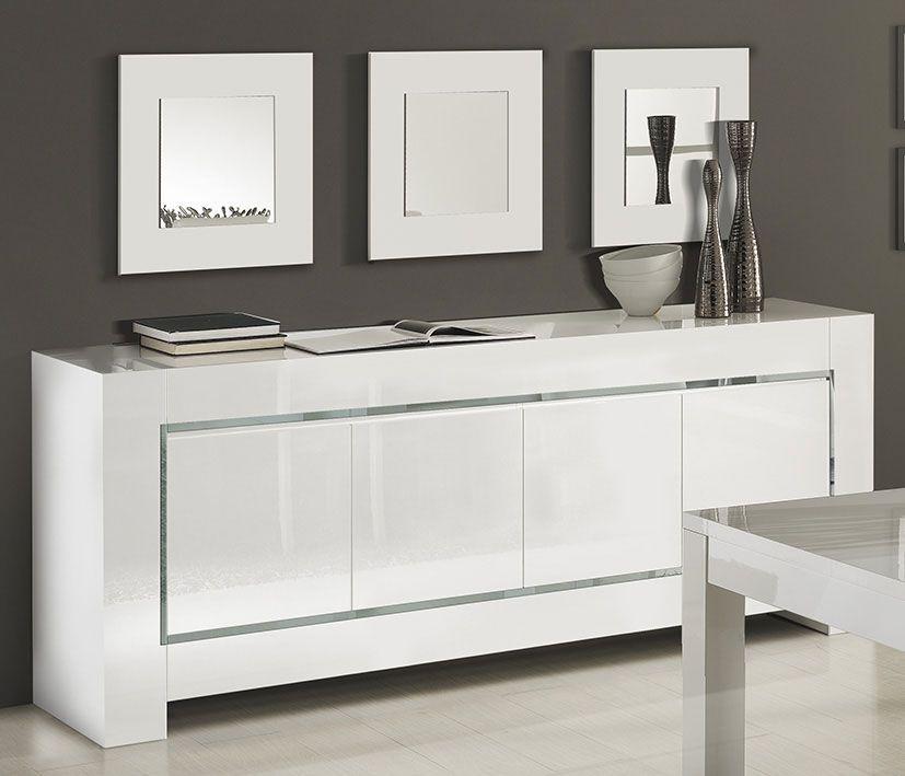Buffet-bahut blanc laqué bandes chromées design FRIZZ 3 | Décos ...