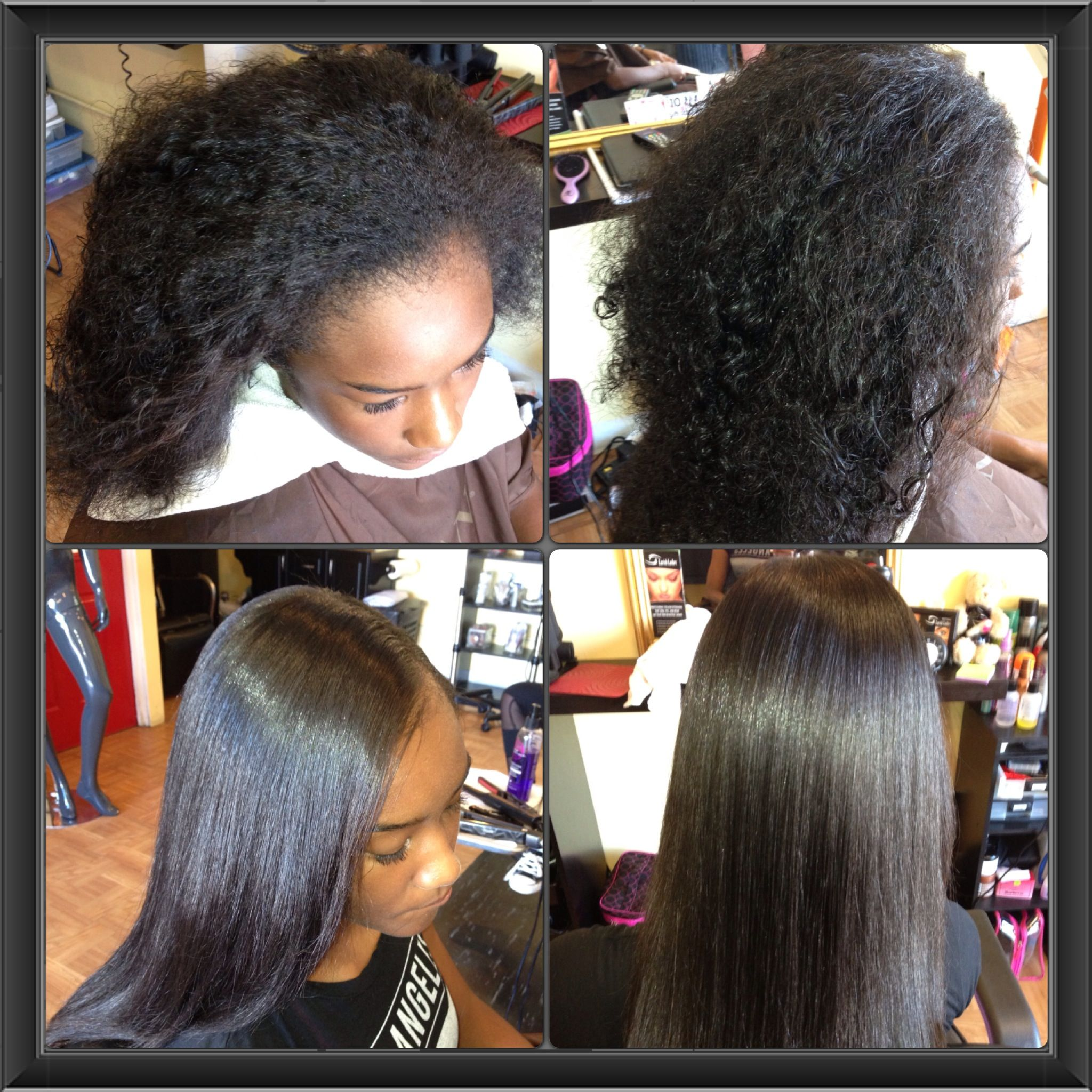 Before and after flat iron onlyno pressing comb