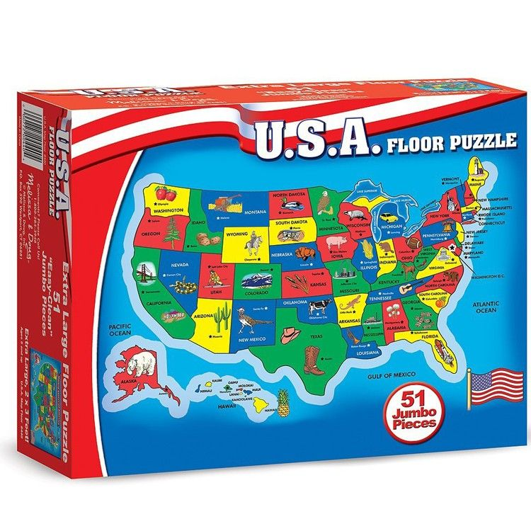 This Educational Cardboard 51 Pc Floor Puzzle By Melissa U0026 Doug Features  The US Map With